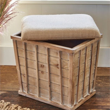 Farmhouse Wood Storage Stool