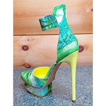 Privileged Viviette Green Neon Yellow Multi Tropical Ankle Cuff Platform Shoe
