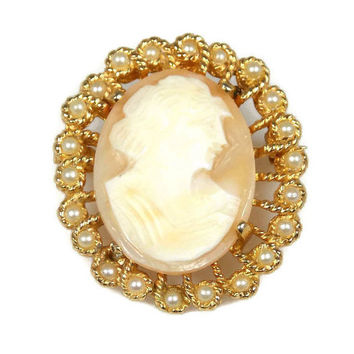 Vintage Richelieu Carved Shell Cameo Brooch Pendant Combination