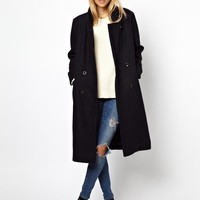 Ganni | Ganni Military Long Classic Coat at ASOS