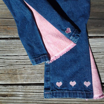 4T Blue Jean Bell Bottoms with Pink Flares and Embroidered Hearts- Girls Toddlers - Handmade by The Hippie Patch