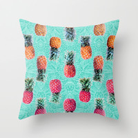 From Pineapple to Pink - tropical doodle pattern on mint Throw Pillow by micklyn | Society6