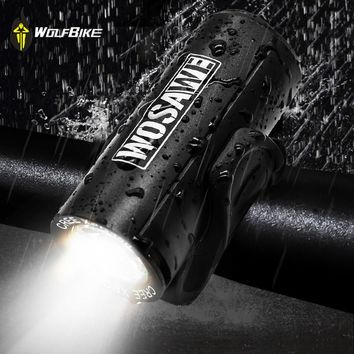 WOSAWE Waterproof Cycling Bike Lights Built-in USB Rechargeable XPE Led Lamp High Brightness Bicycle Front Flashlight