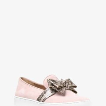 Val Suede and Snakeskin Bow Sneaker | Michael Kors