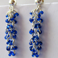 Shaggy Loops Earrings, Blue Beaded Earrings, Chainmaille Earrings, Chain Maille, Dangle Earrings, Chandelier Earrings,