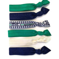 Seattle Seahawks NFL Football Fans Hair Ties Elastic Blue Green White Set of Six Elastic Stretchy Knottie Bands Bracelets by KC Elastic Ties