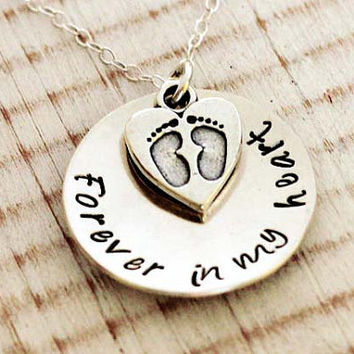 Hand stamped memorial necklace, Forever in my Heart, Footprints