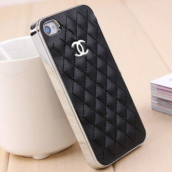 iPhone 4 4S 5 Galaxy S3 Luxury Black Leather Chanel by JacobsStore