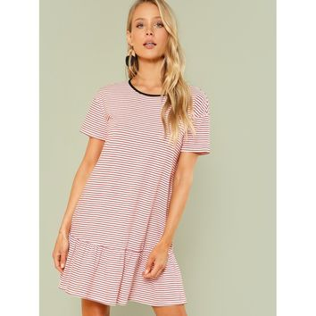 Striped Drop Waist Ringer Dress