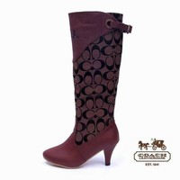 Coach Women Fashion Leather Tube in Boots Heels Shoes