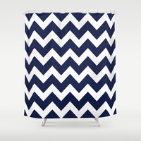 Chevron Navy Blue Shower Curtain by Beautiful Homes