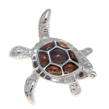 GENUINE INLAY HAWAIIAN KOA WOOD SEA TURTLE SLIDER PENDANT SILVER 925 MEDIUM 32MM