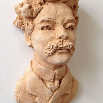 Wall sculpture - Small Bust of man - wall hanging art sculpture  of a Gentleman - Man with mustache -