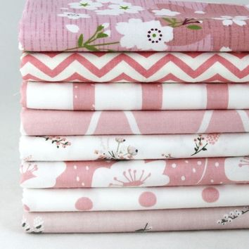 """NEW Pink 8 Assorted Pre Cut Charm 10"""" Squares Quilt Cotton Fabric"""