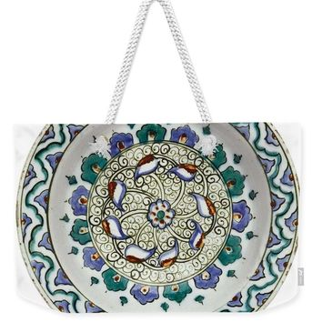 An Ottoman Iznik Style Floral Design Pottery Polychrome, By Adam Asar, No 18 - Weekender Tote Bag