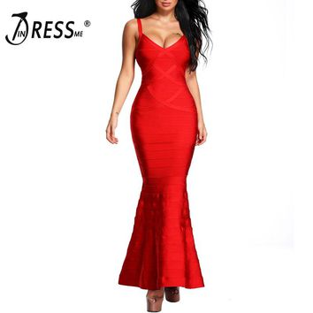 INDRESSME 2017 New Women Red V-Neck Sleeveless Long Wedding Evening Party Bandage Dresses Maxi Gown