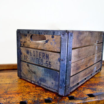 Vintage Wood Crate, Western United Crate, Antique Milk Crate, Dairy Crate, 1950s, Wooden Crate, Wood Box
