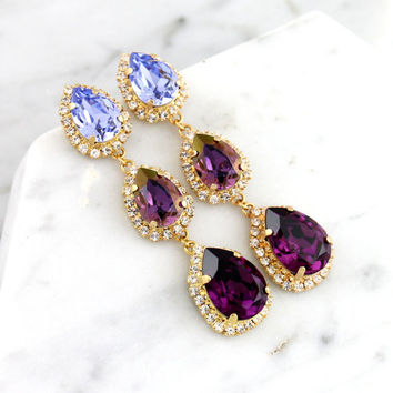 Purple Chandelier, Bridal Plum LONG Earrings, Swarovski Chandelier Earrings, Bridal Purple Crystal Earrings, Lilac Purple Statement Earrings