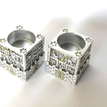 Silver plated  light candle holders with Jerusalem scenery. Shabbat candle holders. Judaica.Marked 925SC. Israel.
