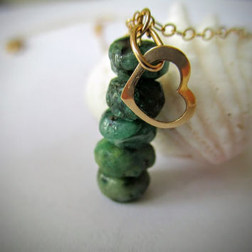 Raw Natural Emerald Necklace - May Birthstone - Stack Necklace - Emerald - Gold Open Heart Necklace - Gold Necklace, May Gemstone