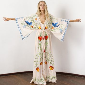 Embroidered Women Maxi Dress V-Neck Batwing Sleeve Loose Plus Size  Dresses Drawstring Waist Boho Beach Vestidos