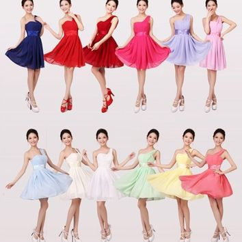 One shoulder bridesmaid dress sister dress Bridesmaids Gown Cheap Short for Wedding Party 2015 New Arrival Bridesmaids dress