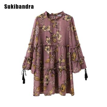 Sukibandra Summer Boho Beach Short Chiffon Dress Floral Print Long Lantern Sleeve Ruffle Hippie Dress Women Bohemian Dress 2017