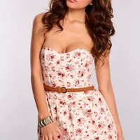 Beige Floral Strapless Romper Outfit