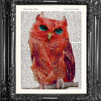 Red Owl Art-Owl Print-Red Owl Decor-Home Dorm Wall Decor-Upcycled Dictionary Print Wall Decor-Antique Book Page Art-Print On Dictionary