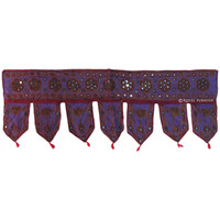 Blue Indian Vintage Decorative Mirror Patchwork Window Door Valance on RoyalFurnish.com