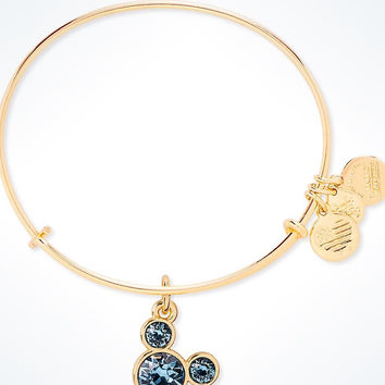 Disney Mickey Mouse Birthstone Bangle by Alex and Ani March Gold Finish New