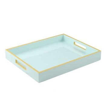 Duck Egg with Beige Trim Lacquer Reiko Tray