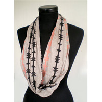 Soft Jersey Hand Printed Circular Scarf - Sand/Coral