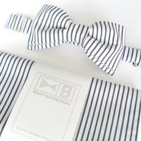 Wedding set for men - bow tie and pocket handkerchief by BartekDesign - white navy blue line striped cotton chic grooms