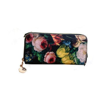 Women Flower Oil Painting PU Leather Long Wallet