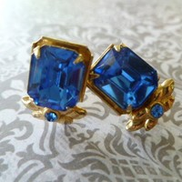 Vintage Coro Earrings Art Deco Blue Rhinestone Gold screwback | RefinedVintage - Jewelry on ArtFire