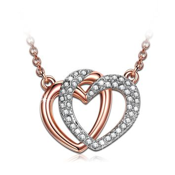 "♥Valentines Day Gifts♥J.NINA - Luxury Gift Packing - ""Guardian of Love"" Rose-Gold Plated Jewelry, Made with Swarovski Crystals, Women Heart Pendant Necklace"