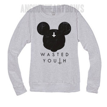 Mickey Mouse Wasted Youth Crew Neck Sweatshirt Hipster #87