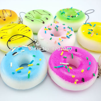 Squishy Donuts Soft Mini Bread Phone Straps Squishy Chocolate Noodle Sprinkles Covered Key Chains