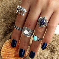 Gift Shiny Jewelry Stylish New Arrival Vintage Gypsy Gemstone Turquoise Hollow Out Ring [11790884239]