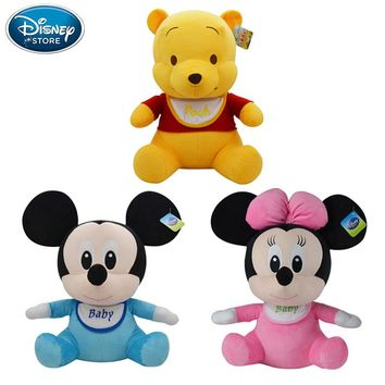 Disney Plush Toys 21cm Baby Winnie The Pooh Mickey Mouse Minnie Stuffed Doll  Boys Girls Birthday Gift For Baby Children