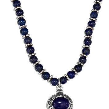 """Sterling Silver 16"""" Lapis Beaded Liquid Silver Oval Lapis Necklace"""