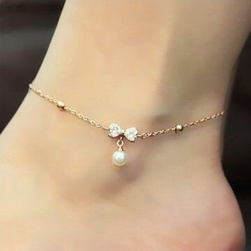 Korean Hot Sale Butterfly Pearls Summer Chain Rhinestone Anklet = 5892962369