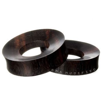 "Dark Sono Wood Concave Tunnels XL Plugs (25mm-50mm) (1""-2"")"