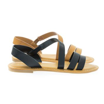 Coastline17s Black By Bamboo, Women's Open Toe Flat Gladiator Strappy Sandal w Elastic Straps