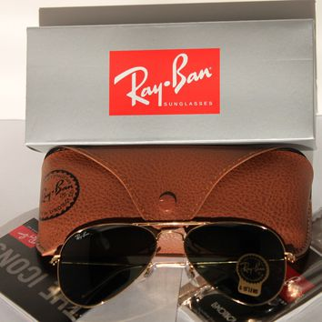 Ray-Ban Small Size Aviator Sunglasses Gold Frame G-15 Lens RB3025 W3234 55-14