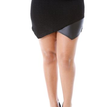 Above The Knee Knit Leather Skirt - Black