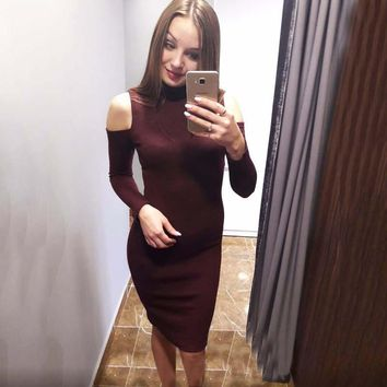 2017 Autumn Vintage Women Long Sleeve Off The Shoulder Casual  Bodycon