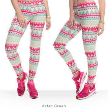 Pink Zohra Brand New Fashion Aztec Printing Women's Legging (ONE SIZE FITS ALL) Stretchy