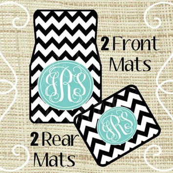 Custom Personalized Set of Car Floor Mats - Front and or Rear Back, Monogrammed Car Mats, Chevron, Tiffany Blue or ANY color